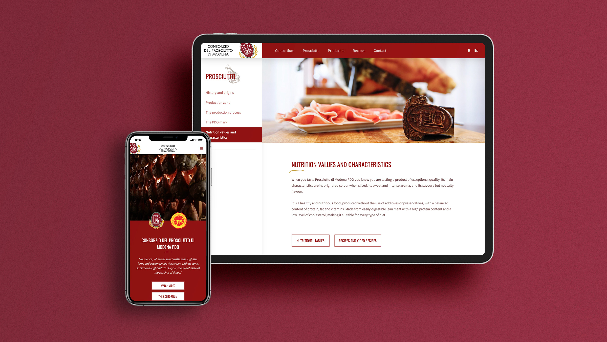 Pagine interne del nuovo sito del Consorzio del prosciutto di Modena