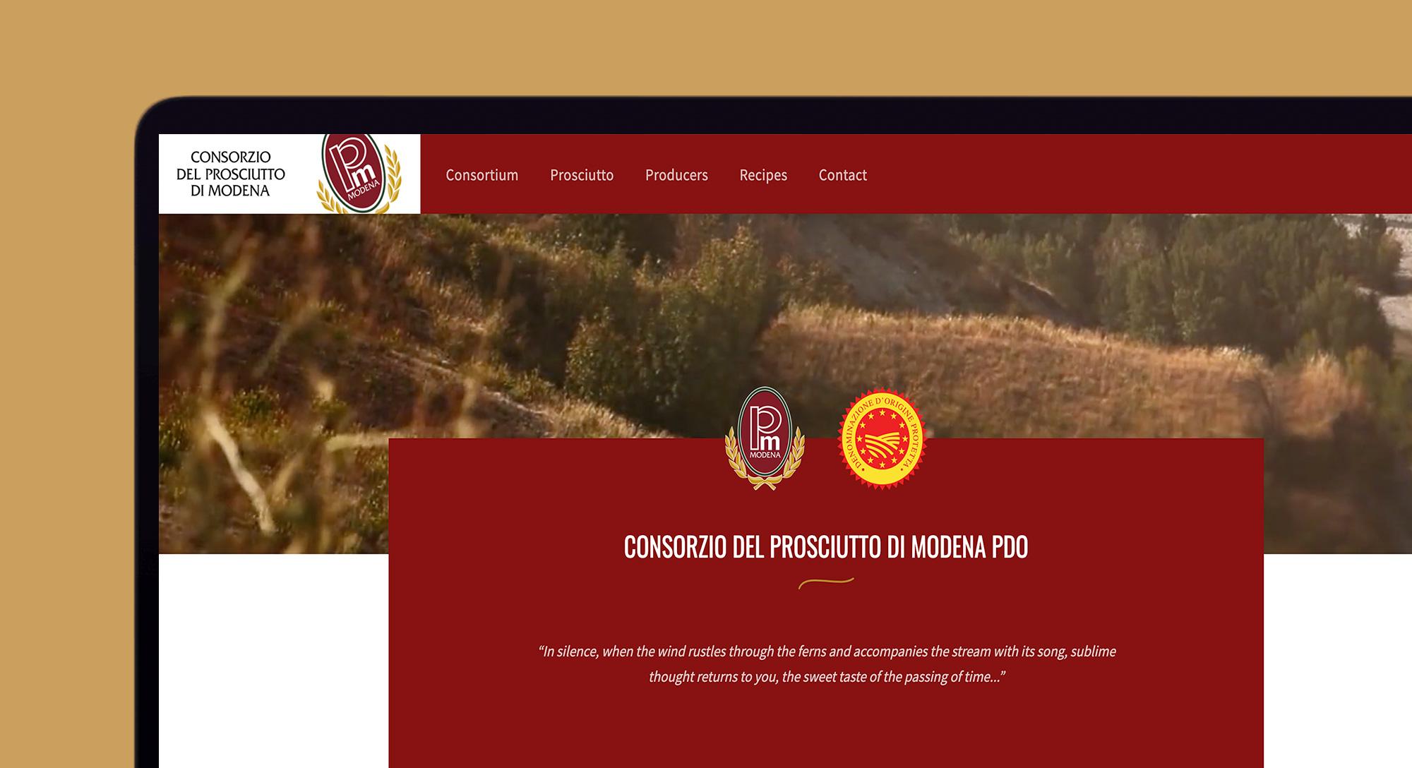 Homepage del nuovo sito del Consorzio del prosciutto di Modena